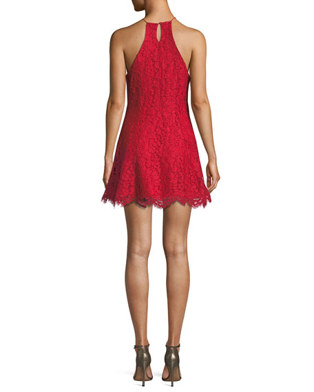 Bria Lace Mini Dress w/ Swing Skirt