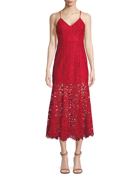 Nbd BRIELLE LACE SLIP DRESS W/ FLOUNCE HEM