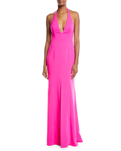 V-Neck Halter Column Gown