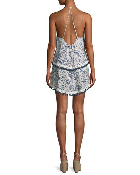 Evolette V-Neck Tiered Printed Dress w/ Pompom Trim