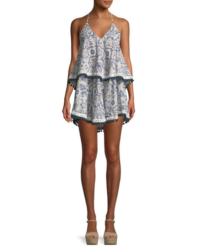 7ed69aab115 Tularosa Evolette V-Neck Tiered Printed Dress w  Pompom Trim