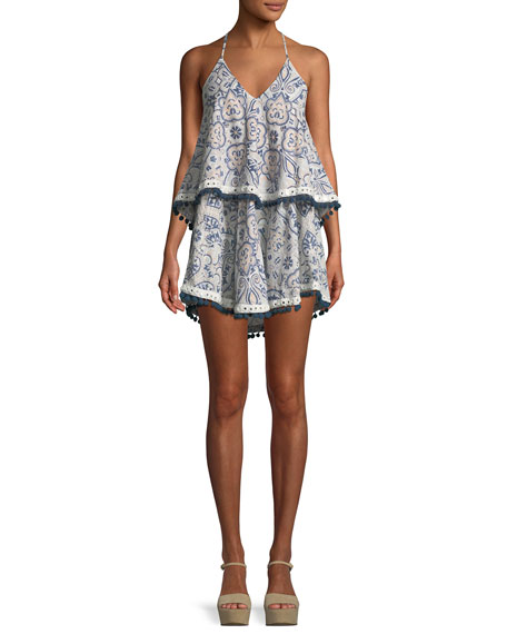 Evolette V-Neck Tiered Printed Dress w/ Pompom Trim