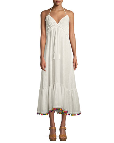 Cecily Sleeveless Halter A-Line Dress w/ Pompom Hem
