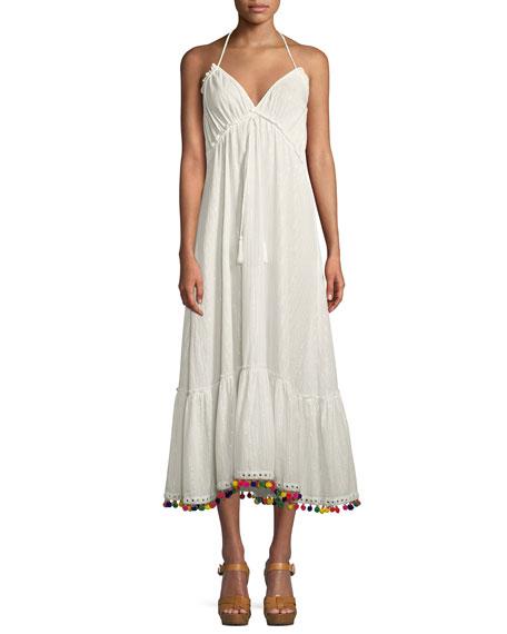 Cecily Sleeveless Halter A-Line Dress w/ Pompom Hem