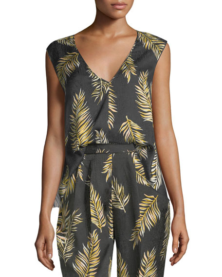 Giada Forte Desert Leaf-Print Slubbed Voile Top and