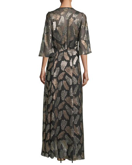 Fil Coupe Desert Leaf Wrap Dress