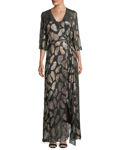 GIADA FORTE Fil Coupe Desert Leaf Wrap Dress in Black/Green