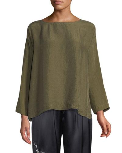 Boat-Neck Long-Sleeve Silk Habutai Shirt