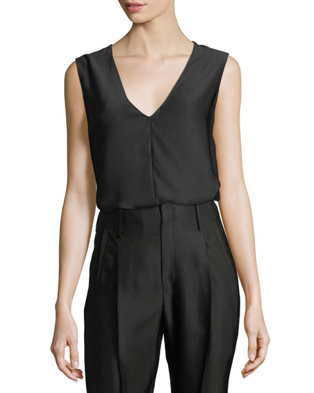 GIADA FORTE Cannette V-Neck Sleeveless Top in Black