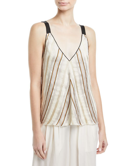 Giada Forte Chic Stripe V-Neck Top