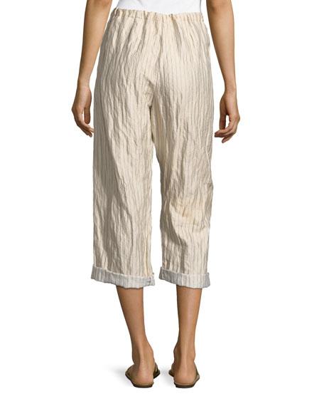Crinkle Pinstripe Drawstring Pants.