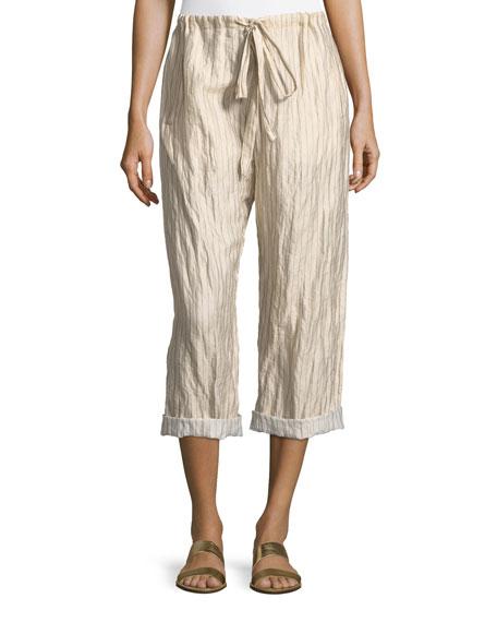 Giada Forte Crinkle Pinstripe Drawstring Pants.