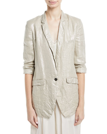 Giada Forte Linen Laminated One-Button Jacket and Matching