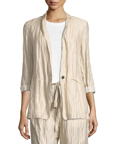 Crinkle Pinstripe One-Button Jacket
