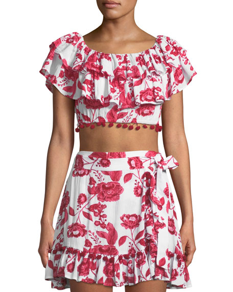 Staci Off-the-Shoulder Floral-Print Crop Top w/ Pompom Trim