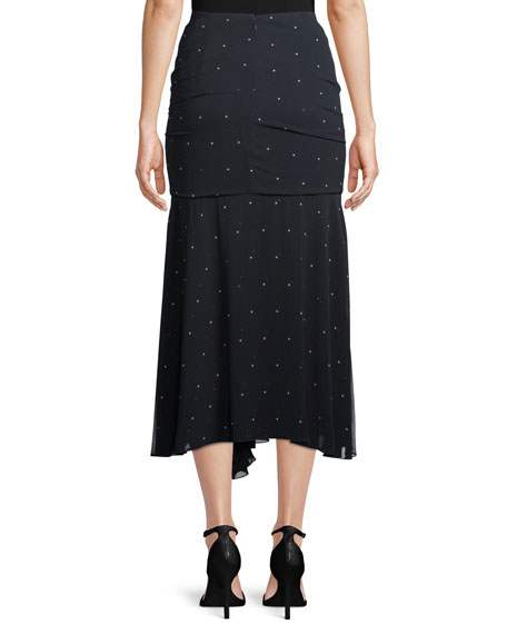 Scarlett Dot-Print Ruched Skirt