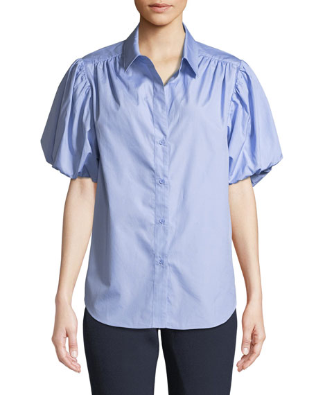 Riley Ruched Puff-Sleeve Shirt