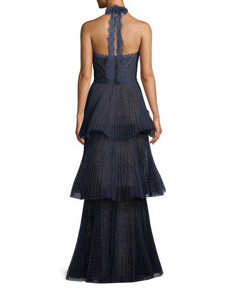 Tiered Halter Gown w/ Lace Trim