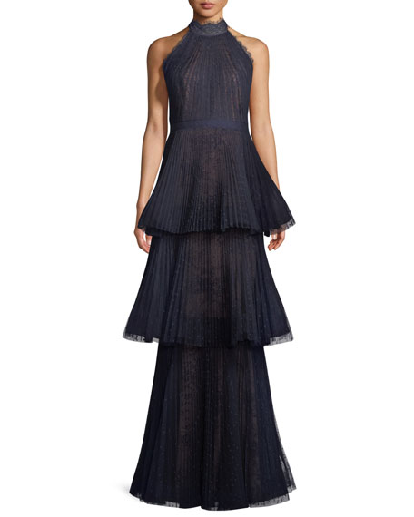 Marchesa Notte Tiered Halter Gown w/ Lace Trim
