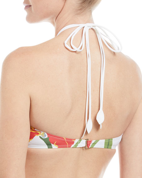 Ring Floral-Print Bandeau Halter Swim Top