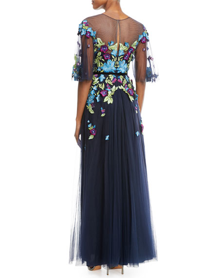Allover Beaded Gown w/ Tulle Skirt