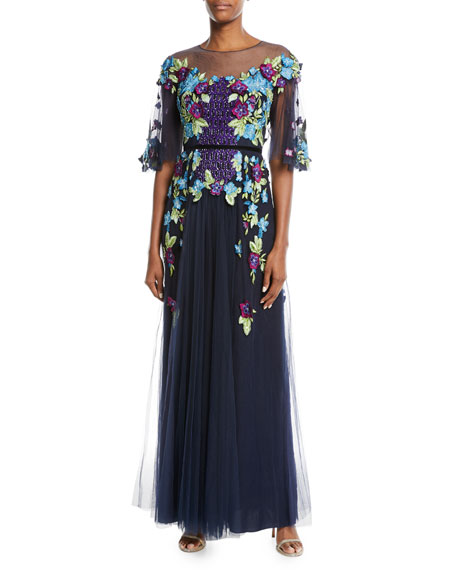 Marchesa Notte Allover Beaded Gown w/ Tulle Skirt