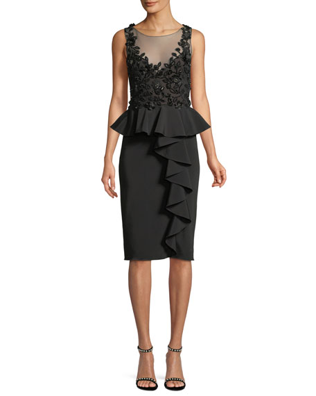 Marchesa Notte Embroidered Stretch Faille Cocktail Dress w/