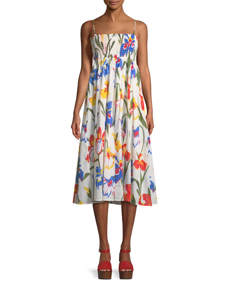 Tory Burch Painted Iris Floral-Print Sleeveless Midi Coverup