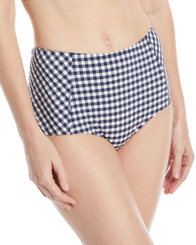 Gingham High-Waist Swim Bikini Bottoms