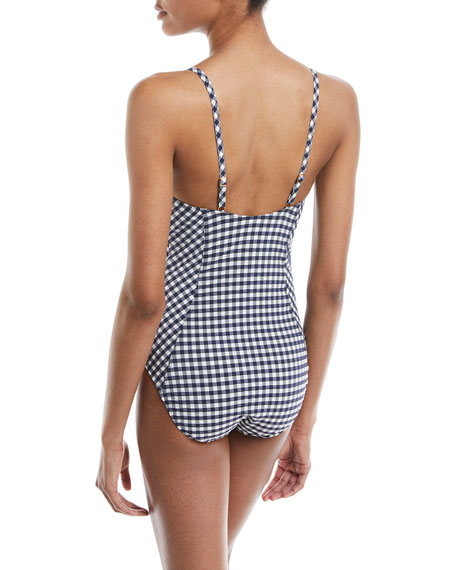Gingham-Print Full-Seat One-Piece Swimsuit