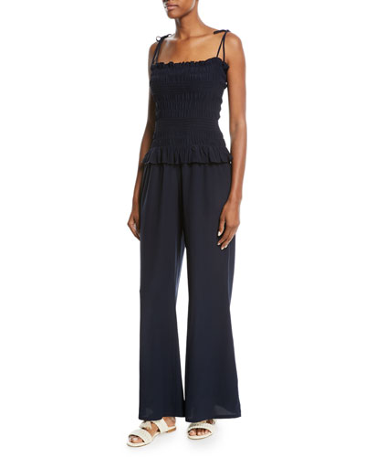 Cone Sizeta Smocked Wide-Leg Silk Coverup Jumpsuit