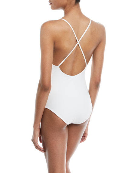 Palisades Ruffle Maillot One-Piece Swimsuit with Piping