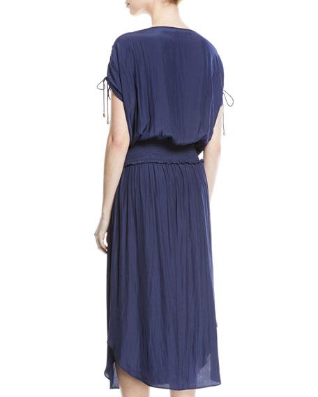 Donata High-Neck Smocked-Waist Long Dress