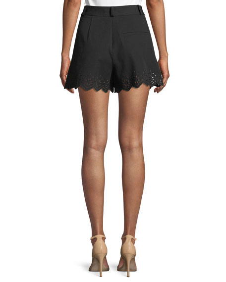 High-Waist Stretch-Cotton Shorts with Eyelet Embroidery