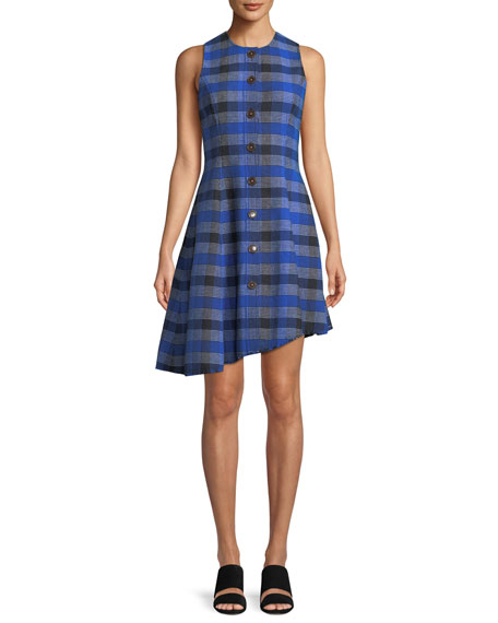 Derek Lam 10 Crosby Sleeveless Button-Down Asymmetrical Check