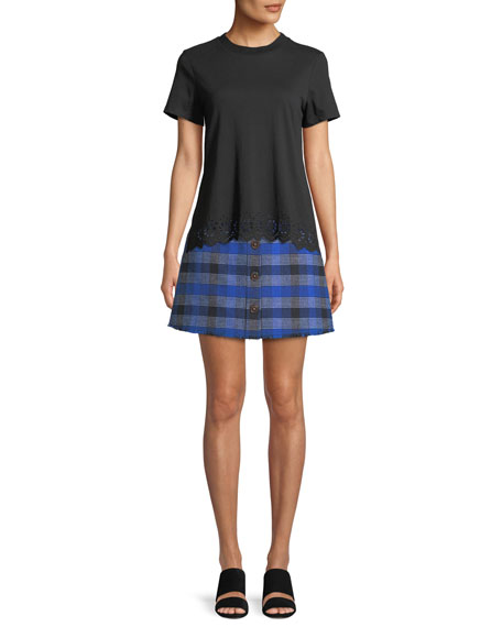 A-Line Button-Front Check Mini Skirt