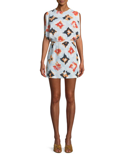 Diamond-Print Silk Open-Back Dress