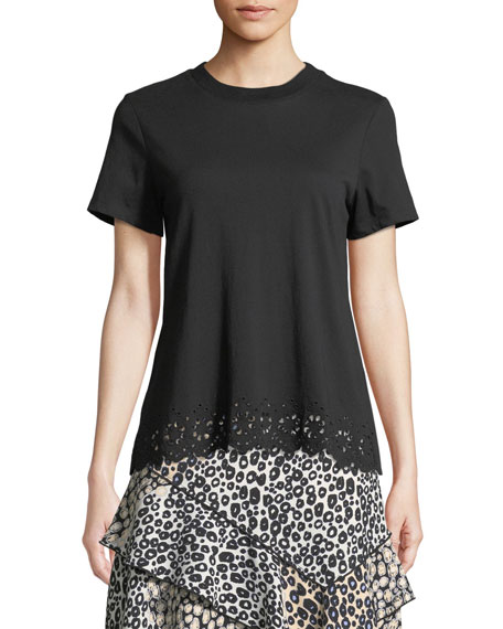 Derek Lam 10 Crosby Short-Sleeve Crossover-Back Cotton Tee