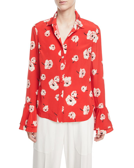Derek Lam 10 Crosby Long-Sleeve Button-Front Floral-Print Silk