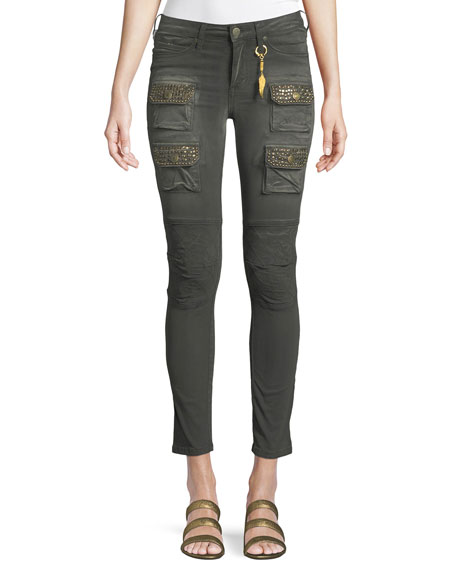 Robin's Jeans Racer Cargo Skinny Pants with Studs
