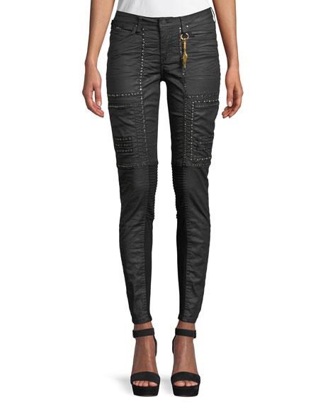 Robin's Jeans Cargo Moto Skinny-Leg Studded Pants