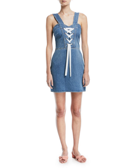 Tule Lace Up Sleeveless Denim Dress