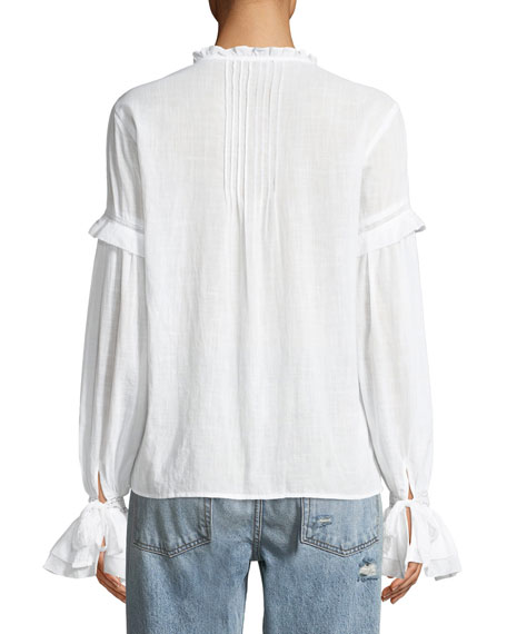 Alonza Long-Sleeve Ruffled Cotton Blouse with Ruffled Trim