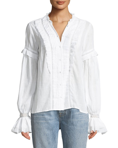 PAIGE Alonza Long-Sleeve Ruffled Cotton Blouse with Ruffled