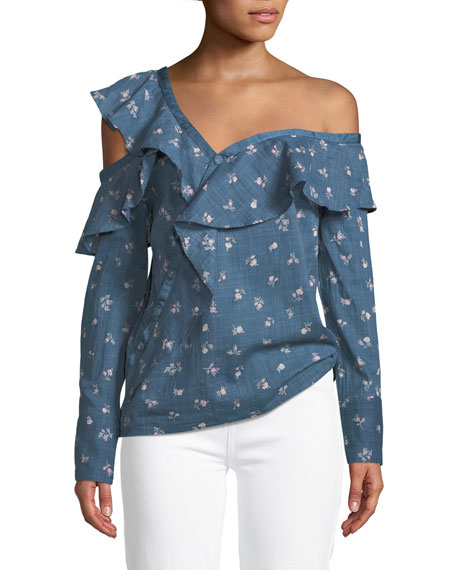 Marlow One-Shoulder Floral-Print Chambray Top