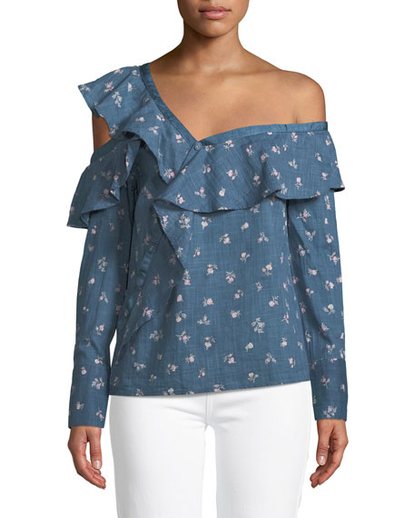 PAIGE Marlow One-Shoulder Floral-Print Chambray Top