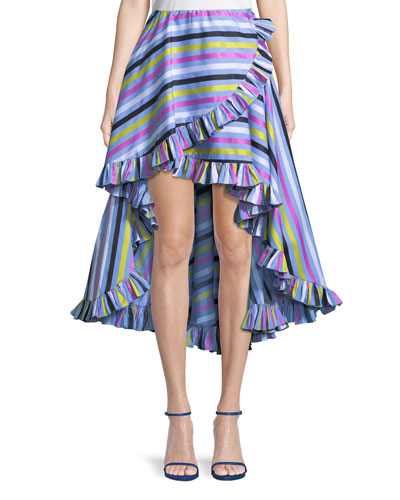 Adelle Ruffle Striped Cotton High-Low Skirt