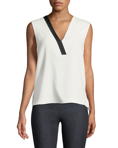 Lodwick V-Neck Sleeveless Crepe Top