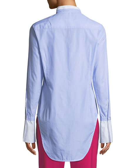 Allie Button-Front Long-Sleeve Cotton Shirt