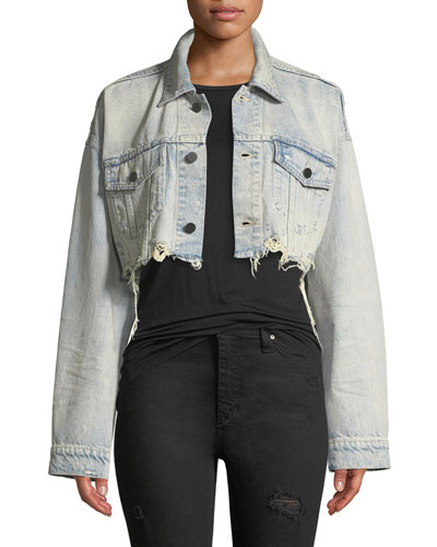 Blaze Crop Cutoff Denim Jacket